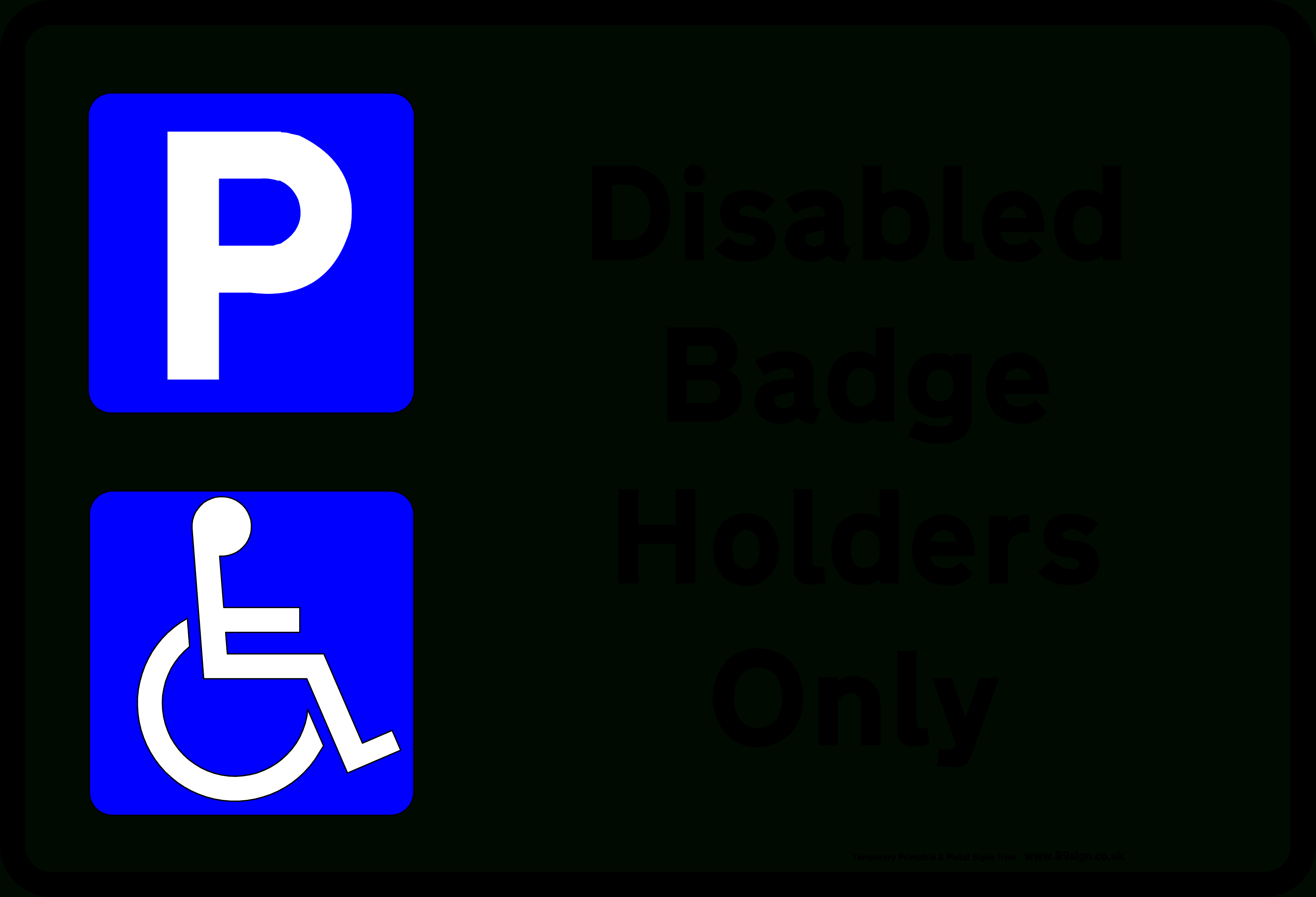 Printable Disabled Parking Sign Low Cost Vinyl Or Free Template Clipart - Free Printable Parking Permits