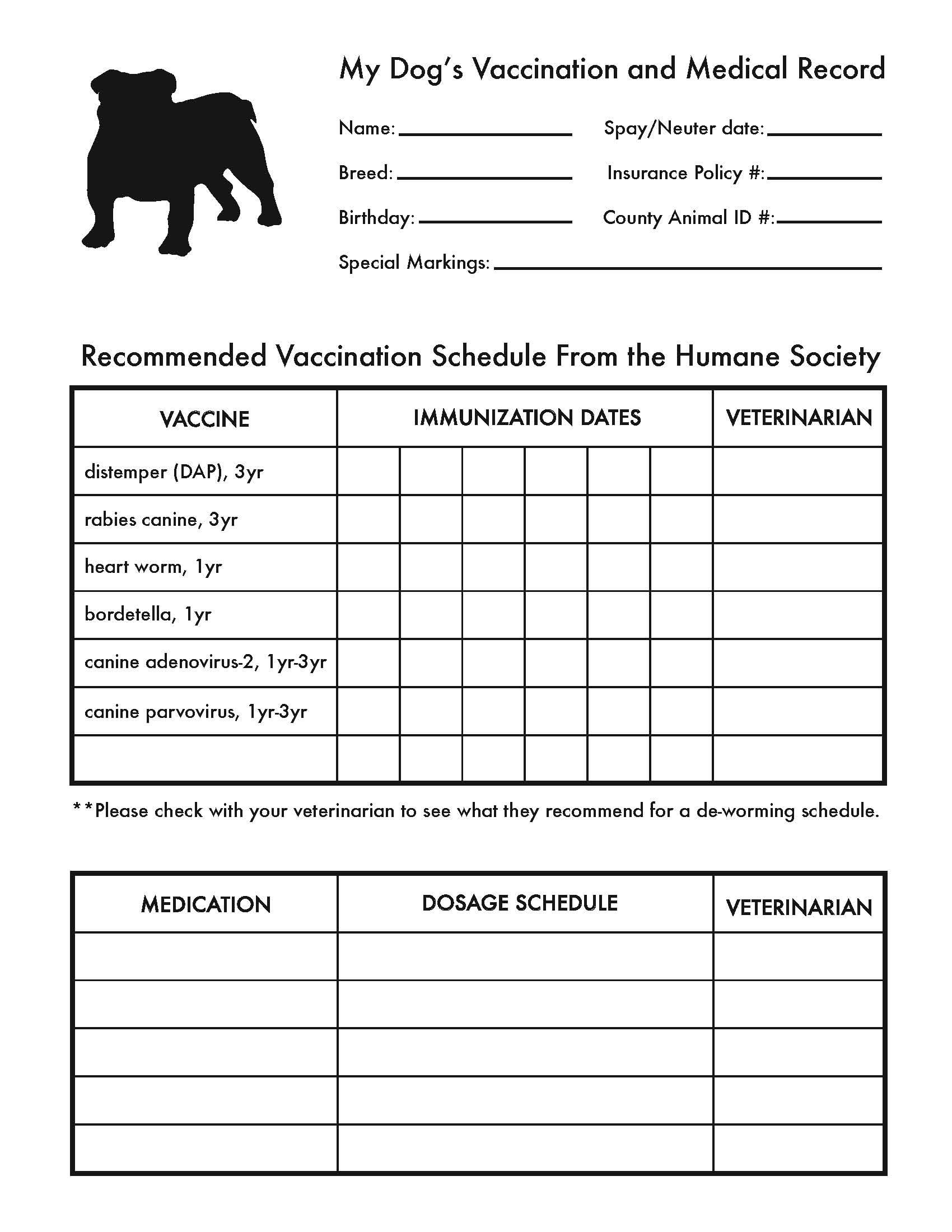 Printable Dog Shot Record Forms | Dog Shot Record | Dog Shots, Dog - Free Printable Dog Shot Records