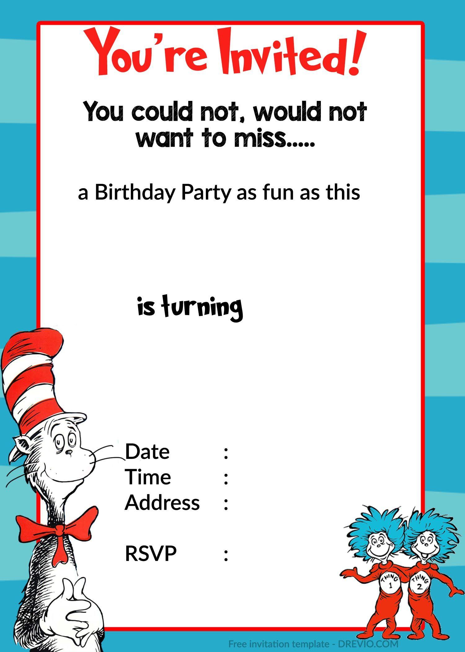 Printable Dr. Seuss Birthday | Birthday Invitation For Kids | Dr - Dr Seuss Free Printable Templates