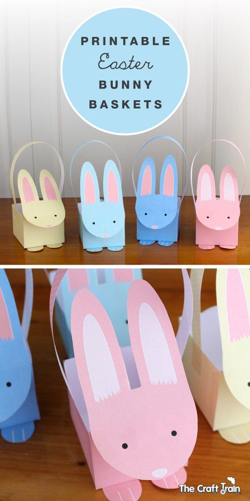 Printable Easter Bunny Baskets | Easter & Spring | Pinterest - Free Printable Easter Egg Basket Templates