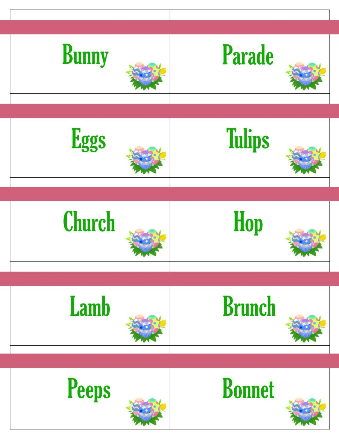 Printable Easter Game Cards For Pictionary, Charades, Hangman And 20 - Free Printable Pictionary Cards