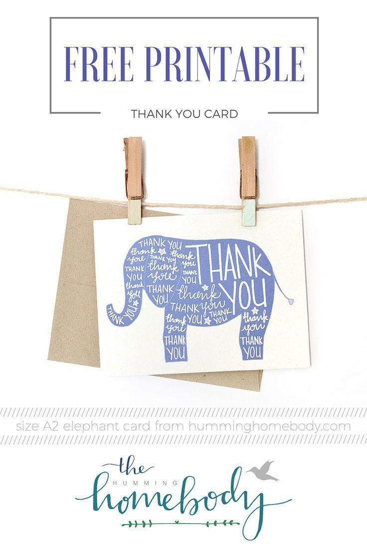 Printable Elephant Thank You Card | Printables | The Best Downloads - Free Printable Thank You Cards
