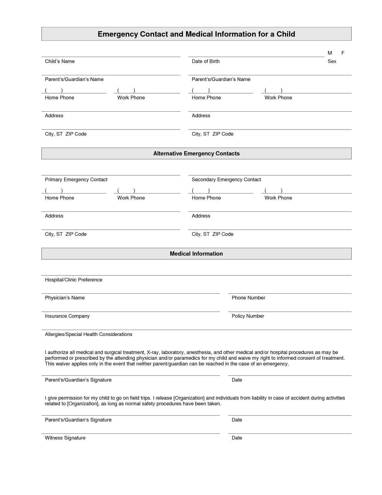 Printable Emergency Contact Form Template | Home Daycare | Pinterest - Free Printable Daycare Forms For Parents