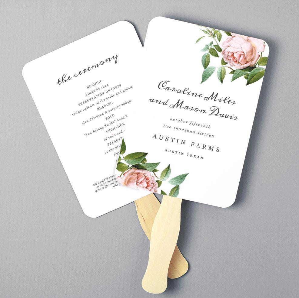 Printable Fan Program, Fan Program Template, Wedding Fan Template - Free Printable Wedding Fan Templates