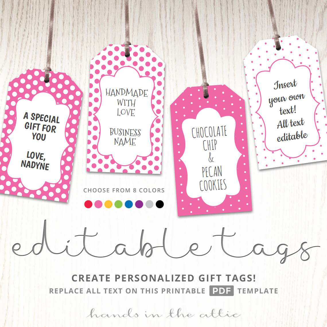 Printable Favor Tags | Polka Dot Labels | Editable Template | Hands - Free Printable Favor Tags