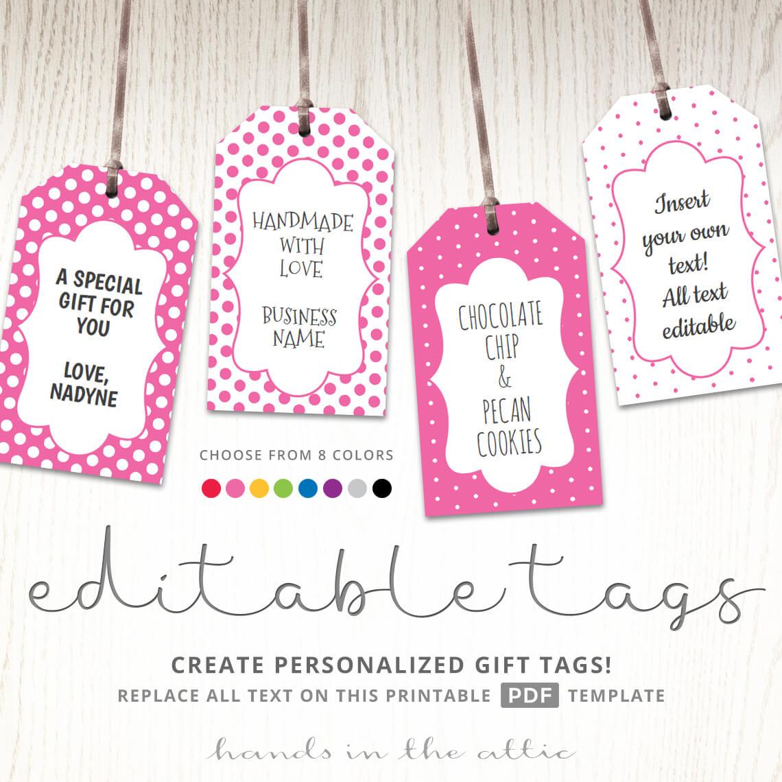 Printable Favor Tags   Polka Dot Labels   Editable Template   Hands - Free Printable Favor Tags
