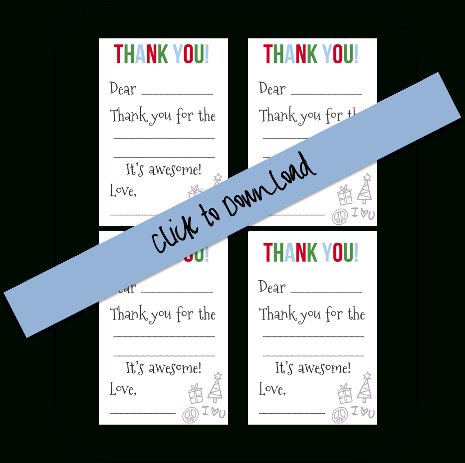Printable Fill-In-The-Blank Thank You Notes (Free Download) | Diy - Fill In The Blank Thank You Cards Printable Free