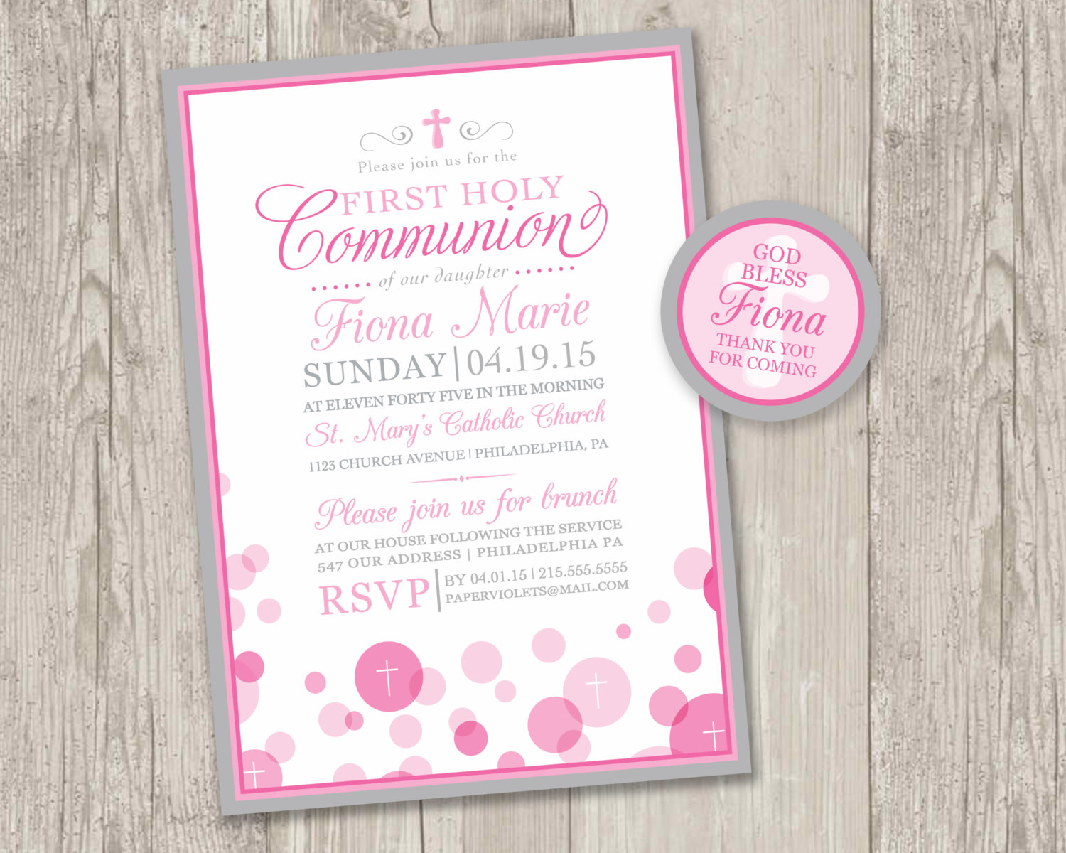 Printable : First Holy Communion Invitations & Free Matching   Etsy - Free Printable 1St Communion Invitations