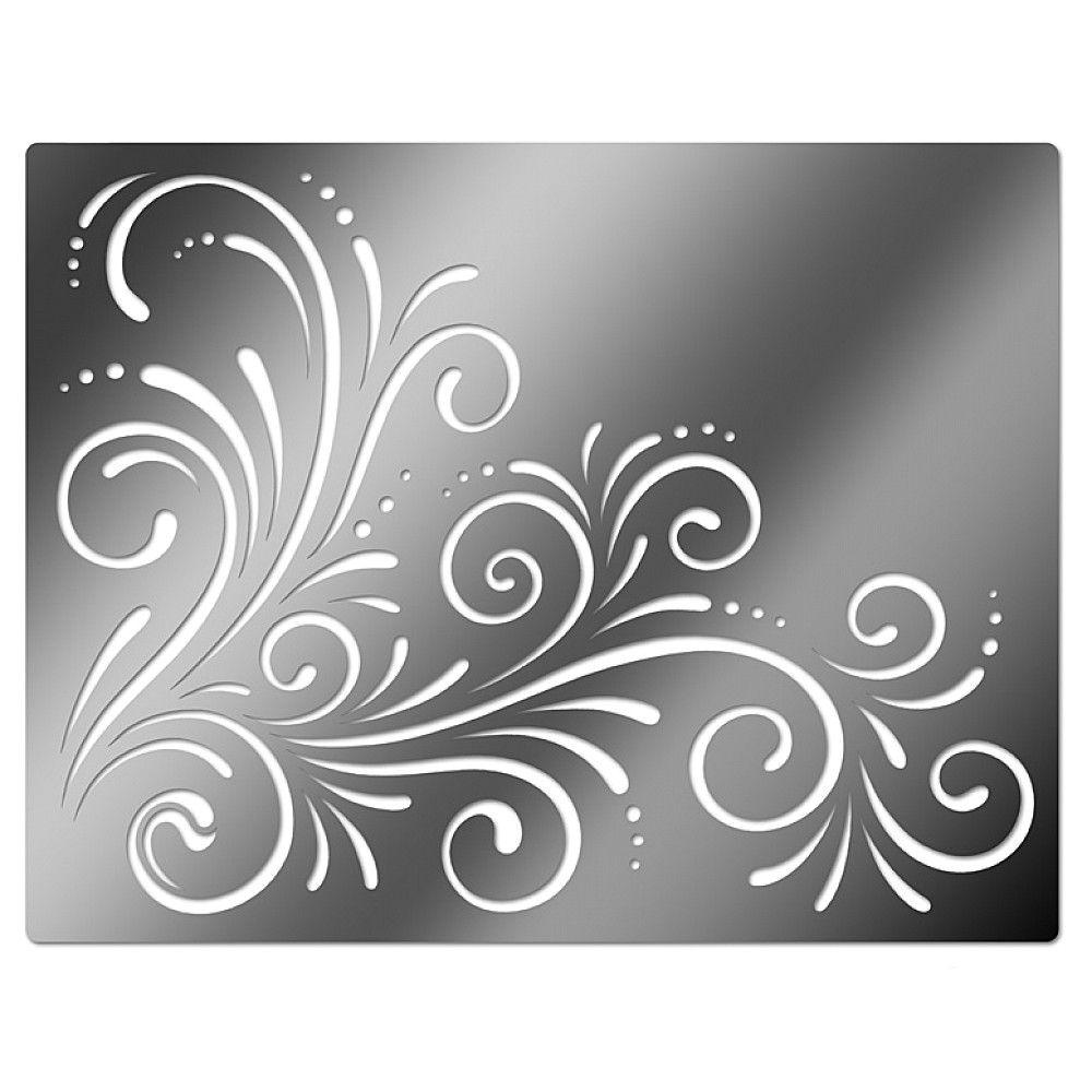 Printable Flower Stencil Patterns | Embossing Stencil, Corner Swirls - Free Printable Flower Stencils