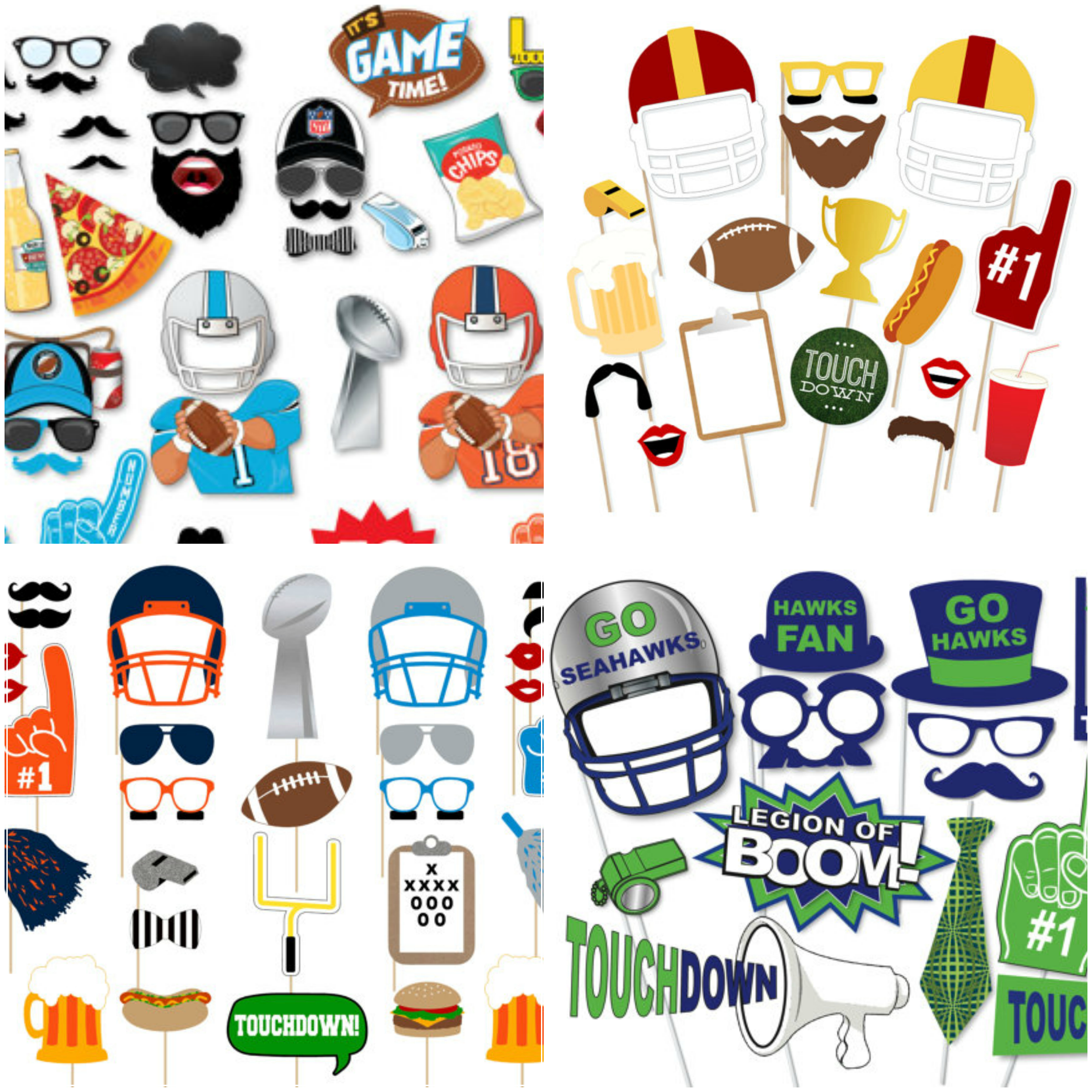 Printable Football Photo Booth Props • Glitter 'n Spice - Printable 90S Props Free