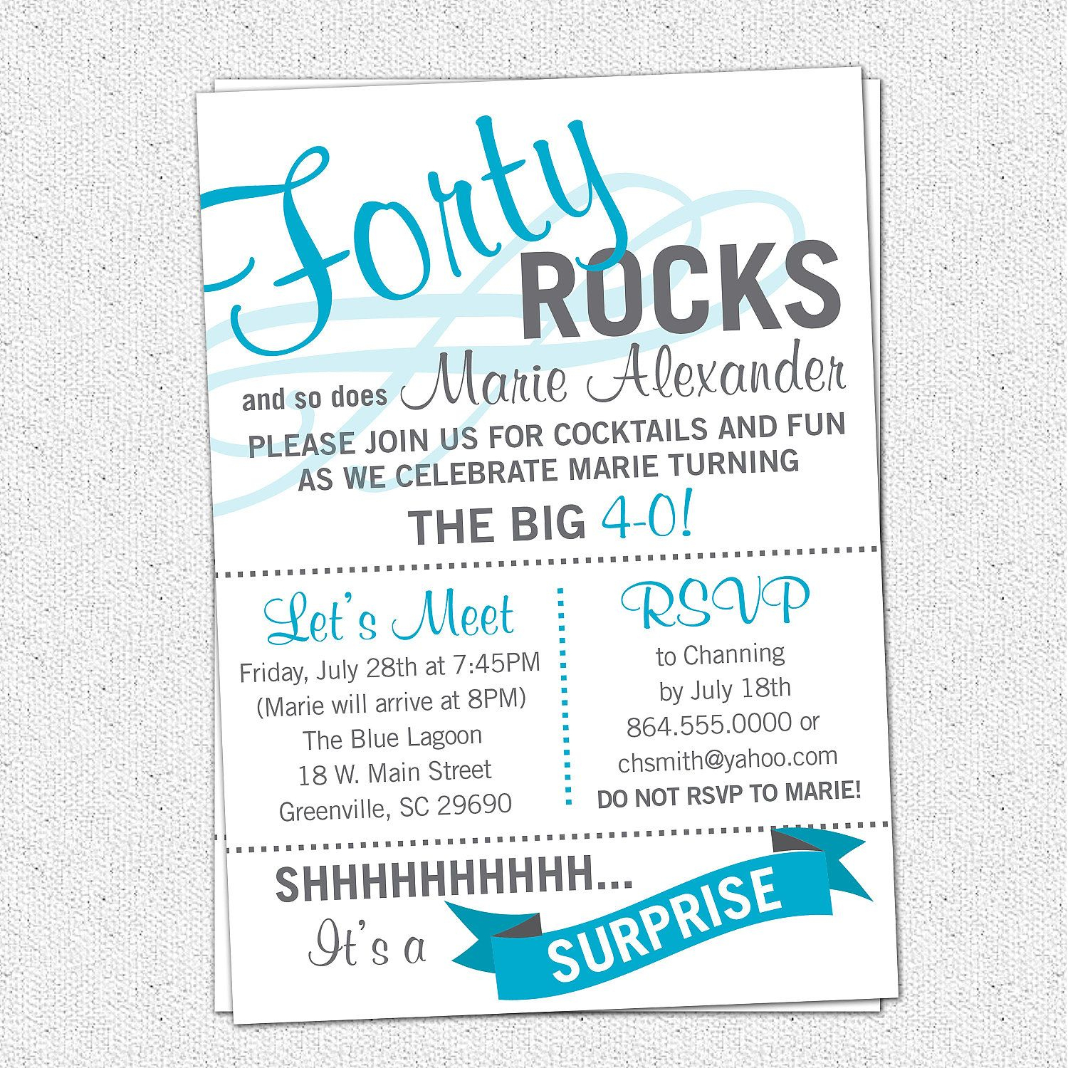Printable Forty Rocks Birthday Party Bash Invitation, Surprise - Free Printable Surprise 40Th Birthday Party Invitations