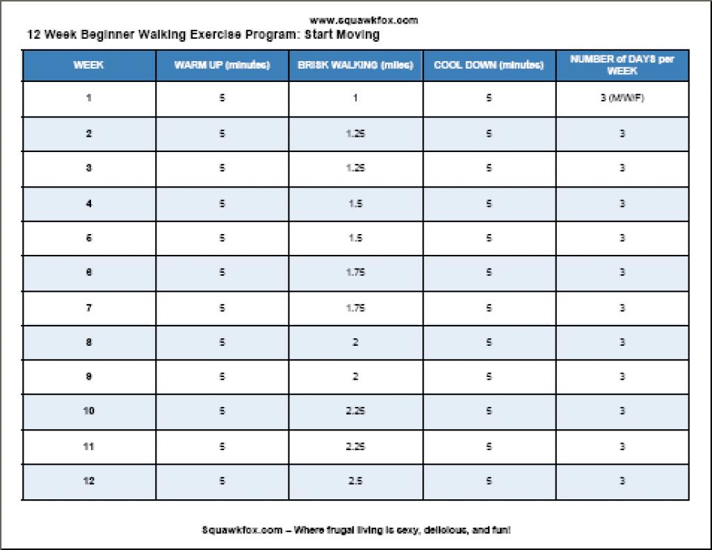 Printable Free Exercise Plan: 12 Week Beginner Walking Program - Free Printable Walking Log