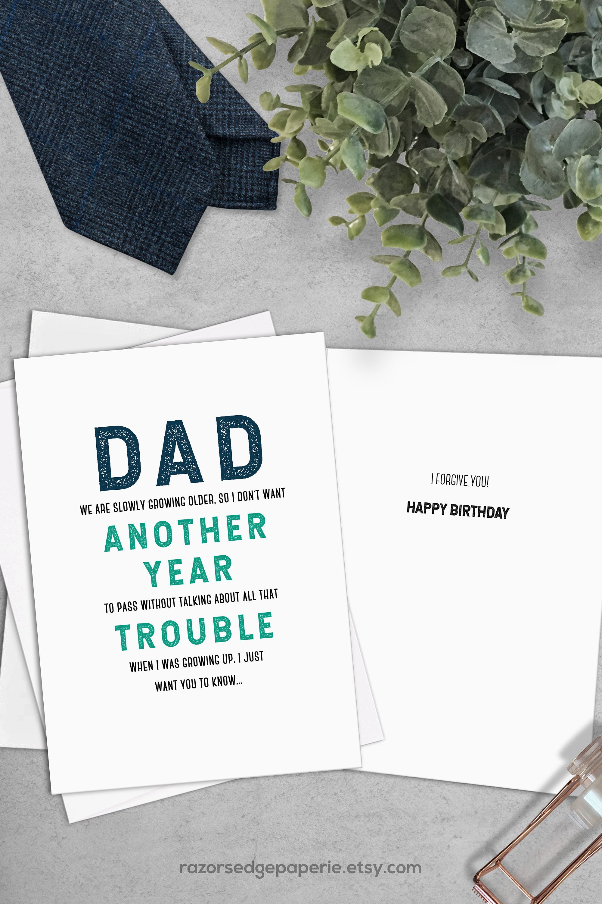 Printable Funny Birthday Card Instant Download Digital Greeting Card - Free Printable Funny Birthday Cards For Dad