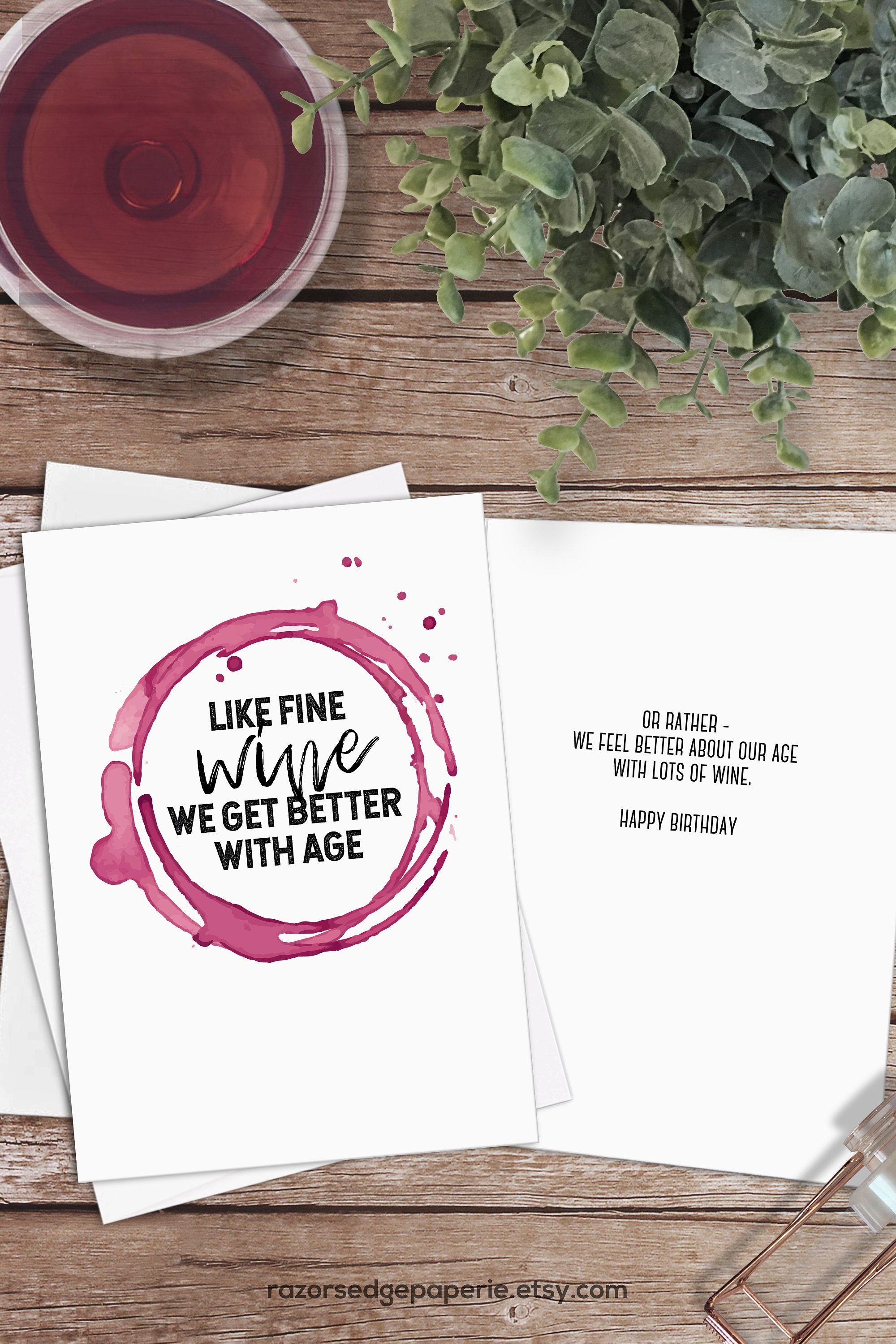 Printable Funny Wine Birthday Card Instant Download // Fine Wine - Free Printable Funny Birthday Cards For Coworkers