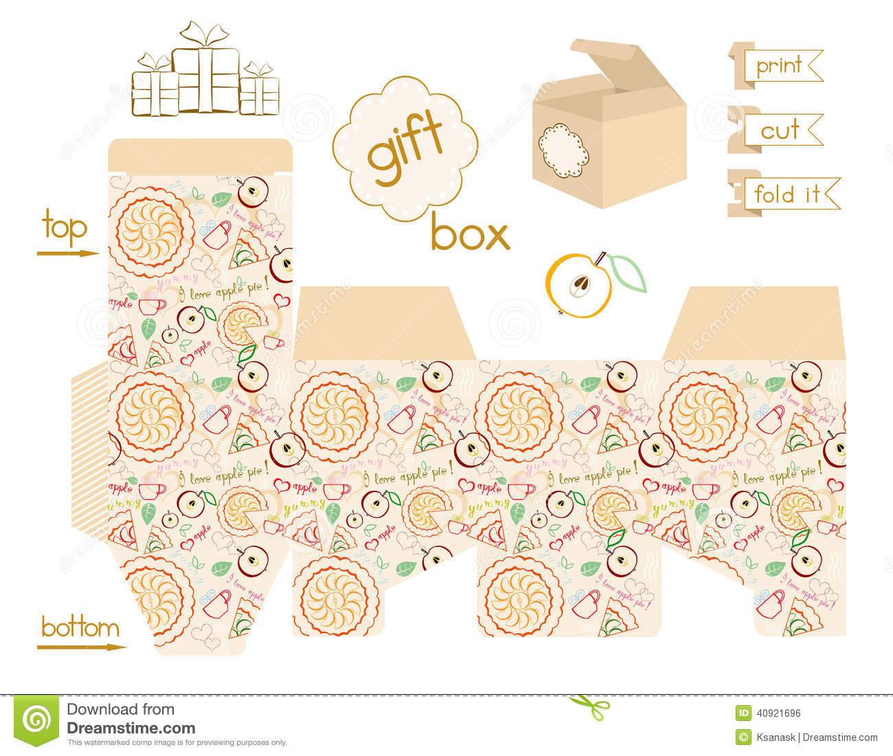 Printable Gift Box Apple Pie Pattern Stock Vector - Illustration Of - Gift Box Templates Free Printable