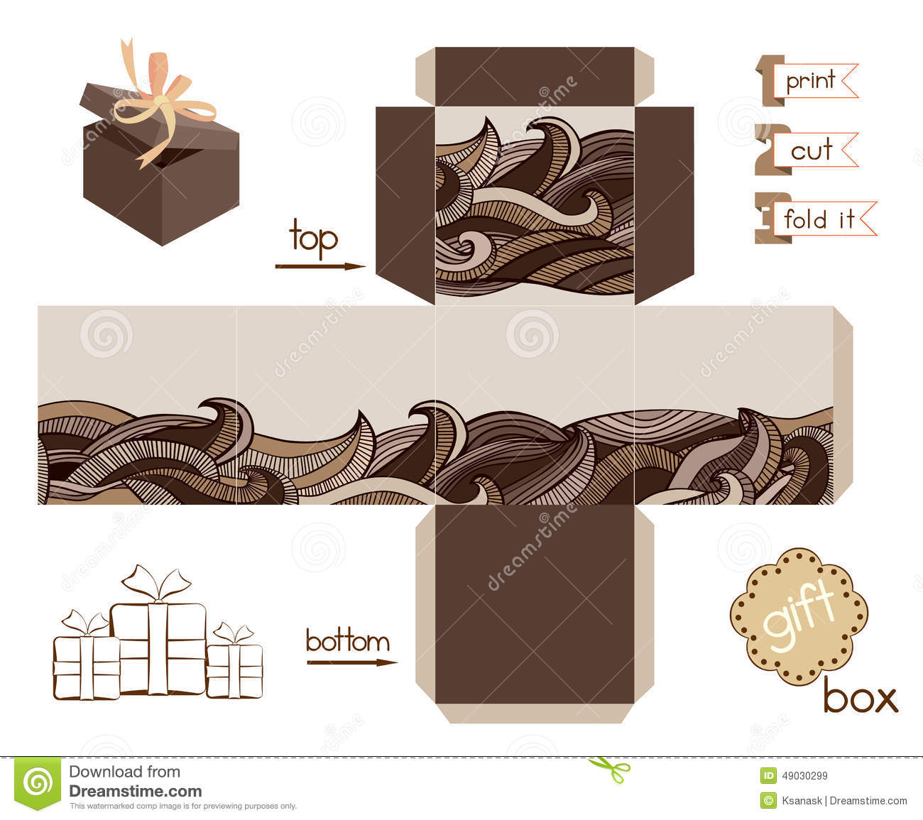 Printable Gift Box With Abstract Wavy Pattern Stock Vector - Printable Box Templates Free Download