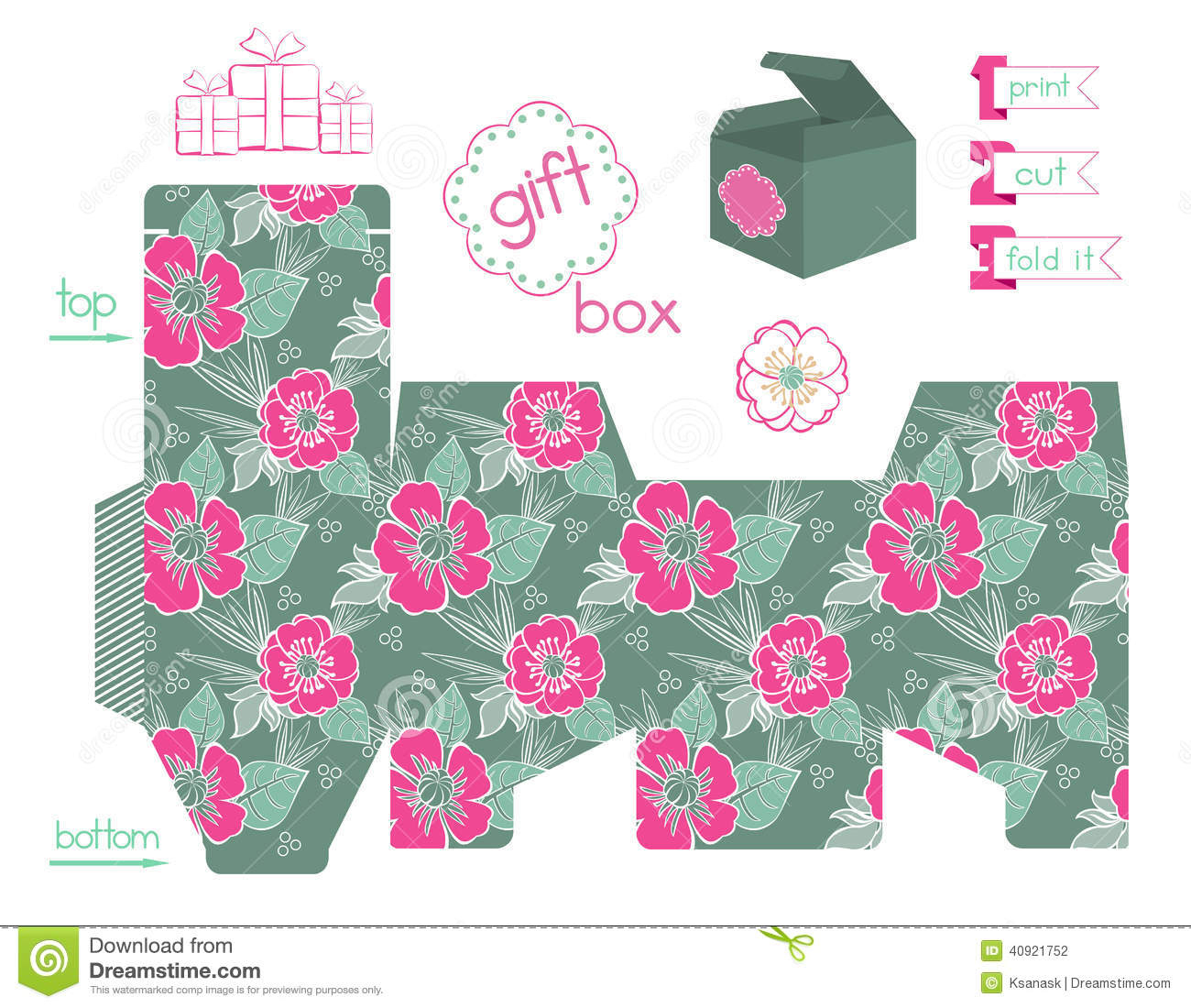 Printable Gift Box With Poppies Pattern Stock Vector - Illustration - Printable Box Templates Free Download