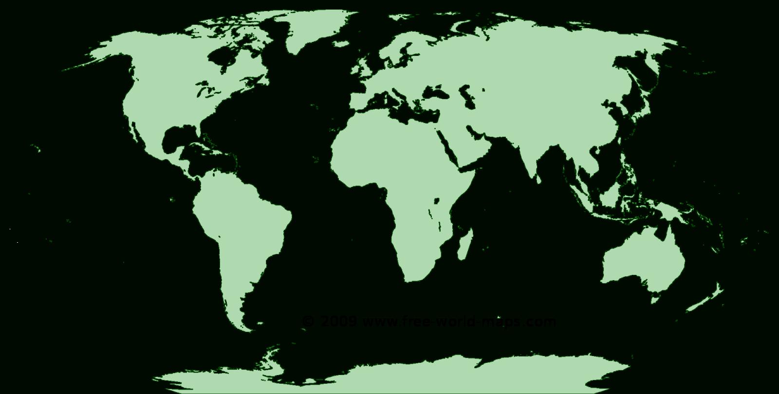 Printable Green-Transparent Blank Outline World Map C4 | Free World Maps - Free Printable World Map Images