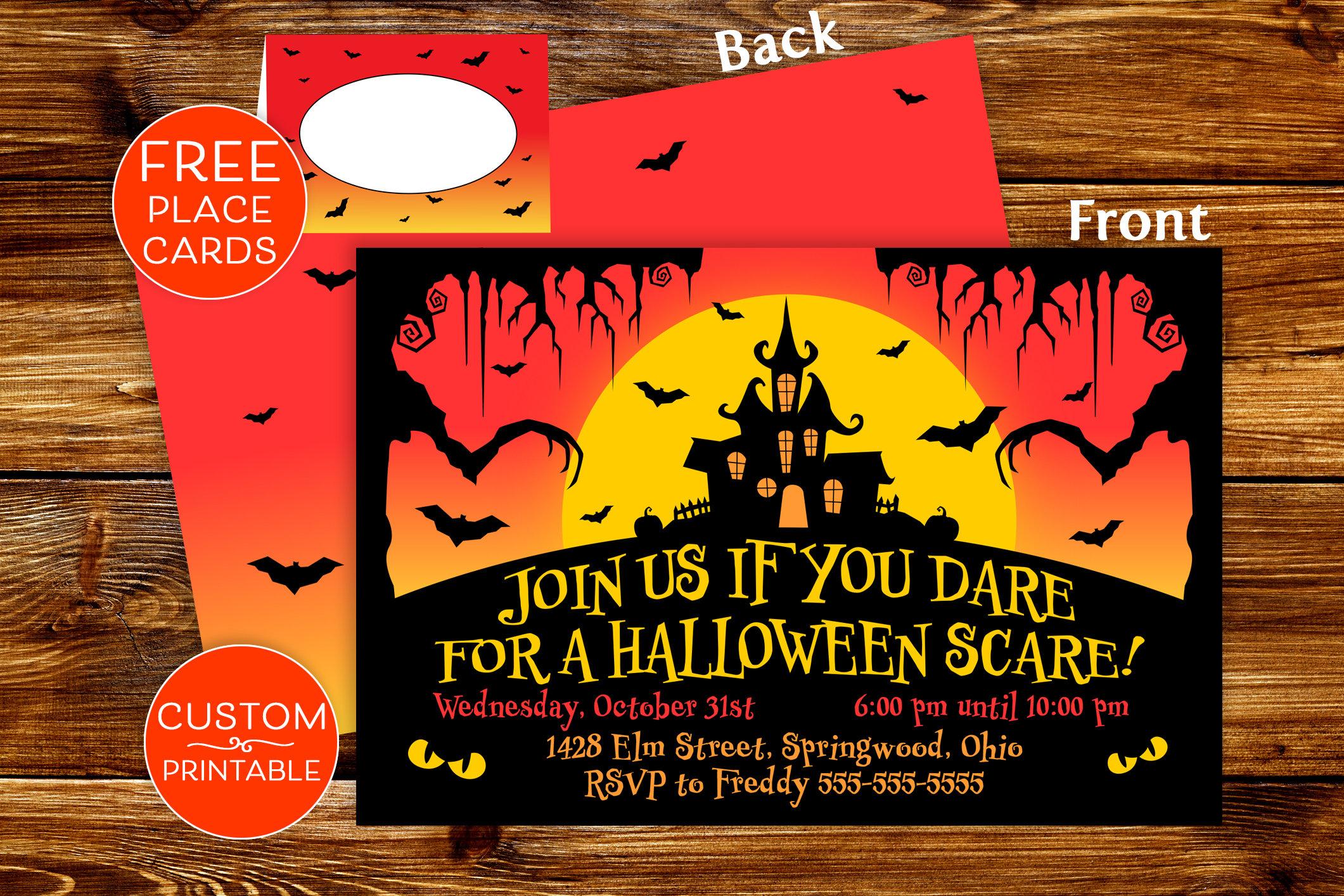 Printable Halloween Party Invitations Spooky Invite Custom   Etsy - Free Printable Halloween Place Cards