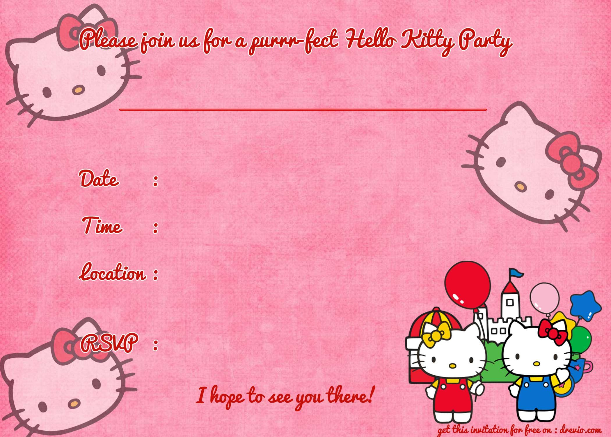 Printable Hello Kitty Birthday Invitation   Party   Pinterest - Hello Kitty Birthday Card Printable Free