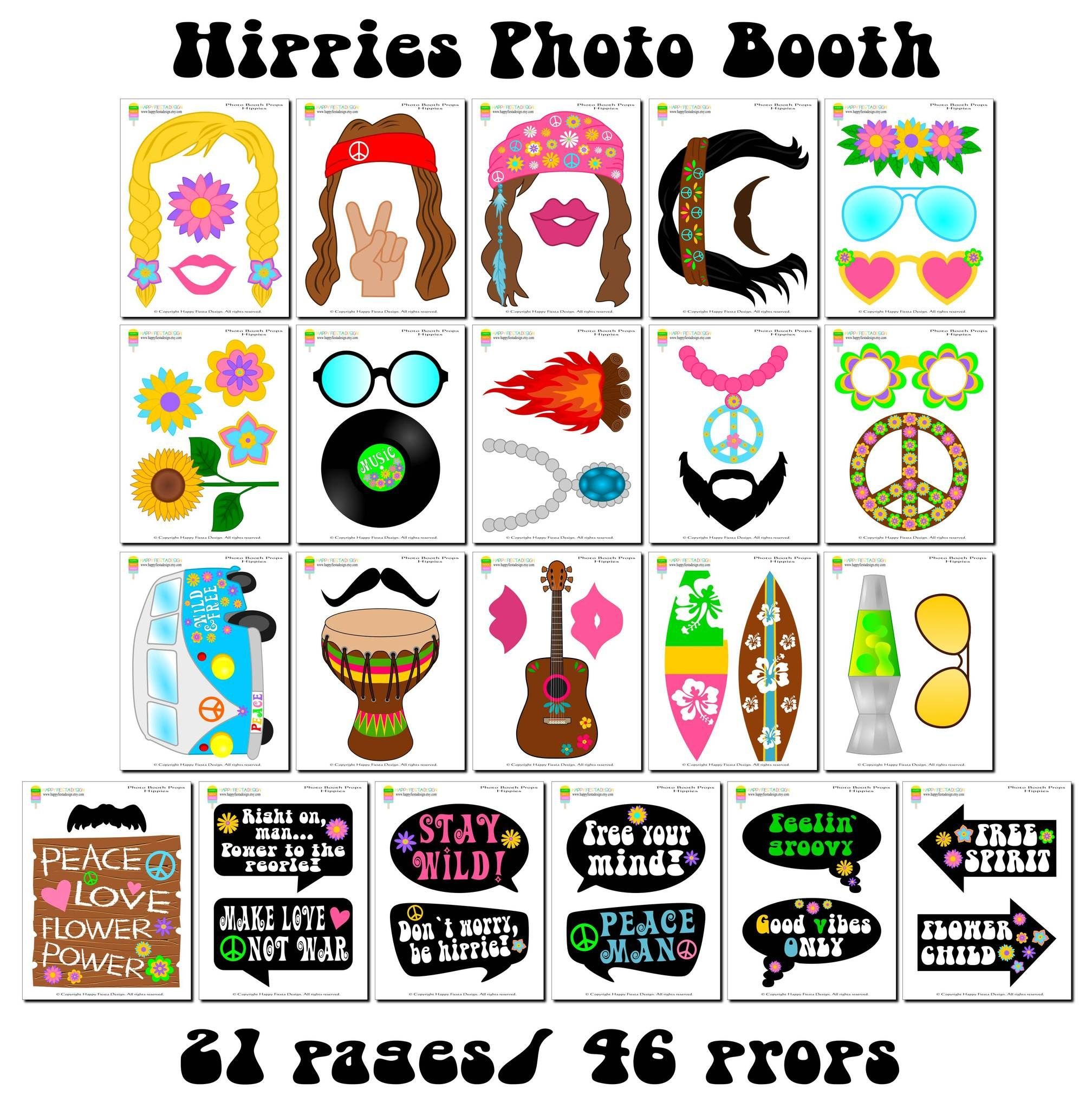 Printable Hippies Photo Booth Props/ 60's Photo Props In 2019 - Free Printable 70's Photo Booth Props