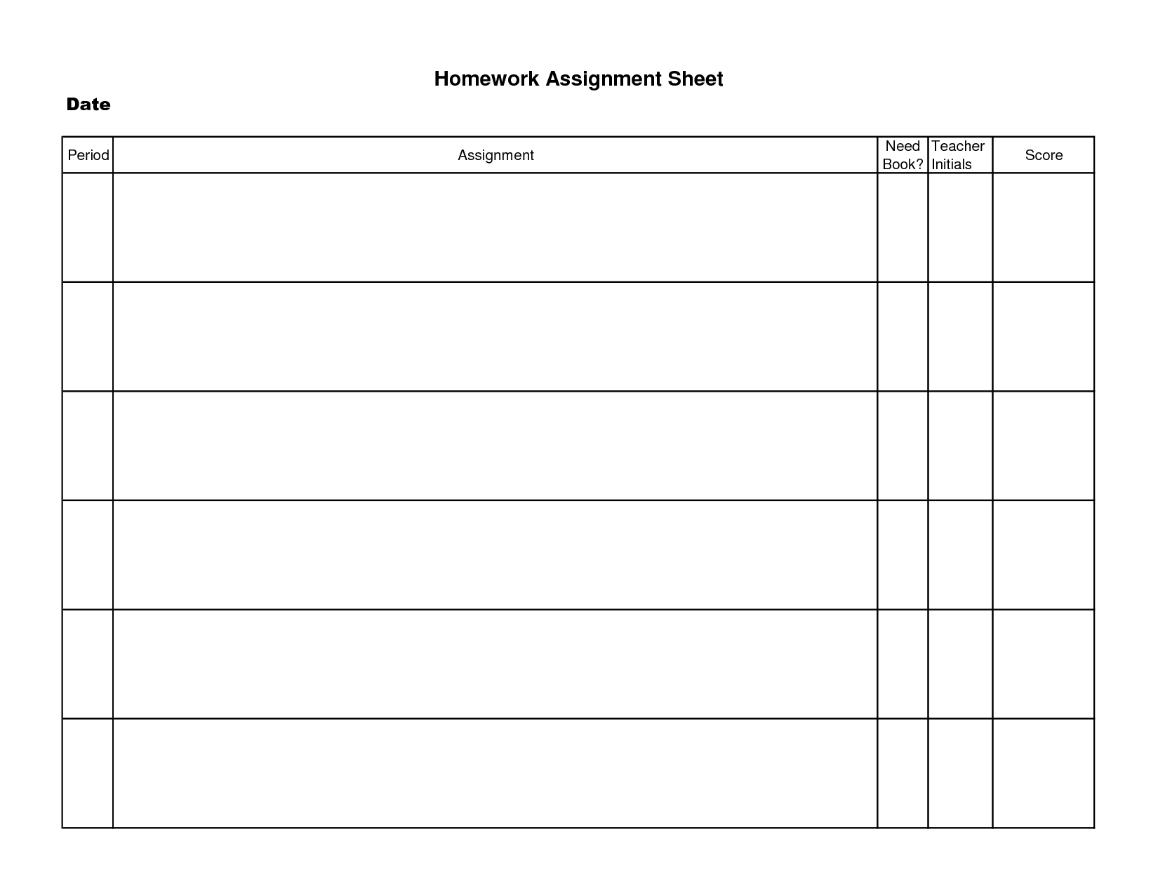 Printable Homework Assignment Sheet Template | Decrease Depression - Free Printable Homework Templates