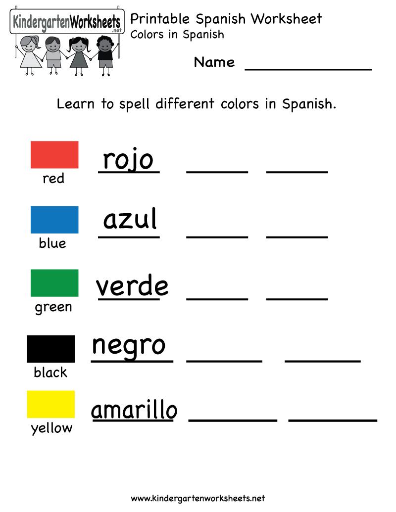 Printable Kindergarten Worksheets   Printable Spanish Worksheet - Free Printable Spanish Numbers