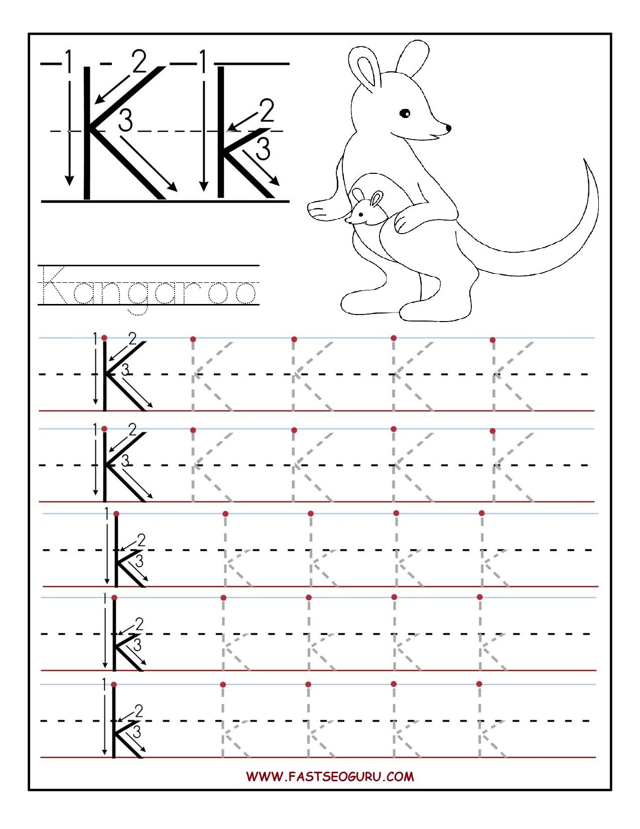 Printable Letter K Tracing Worksheets For Preschool | Learning - Free Printable Letter K Worksheets