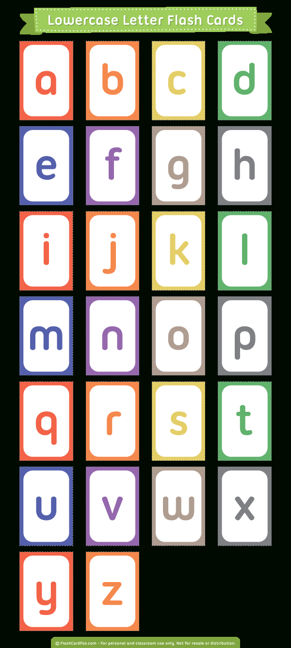 Printable Lowercase Letter Flash Cards - Free Printable Lower Case Letters Flashcards