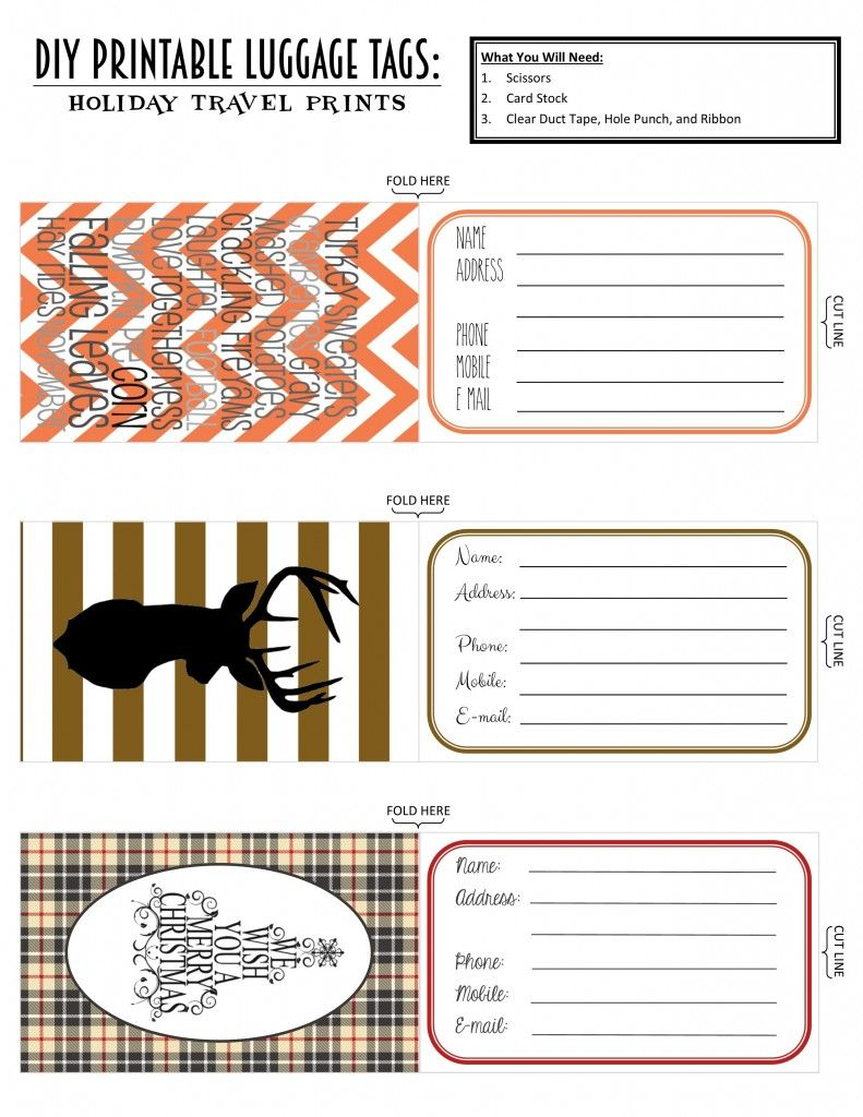 Printable Luggage Tags: Holiday Travel Edition | Projects To Try - Free Printable Luggage Tags