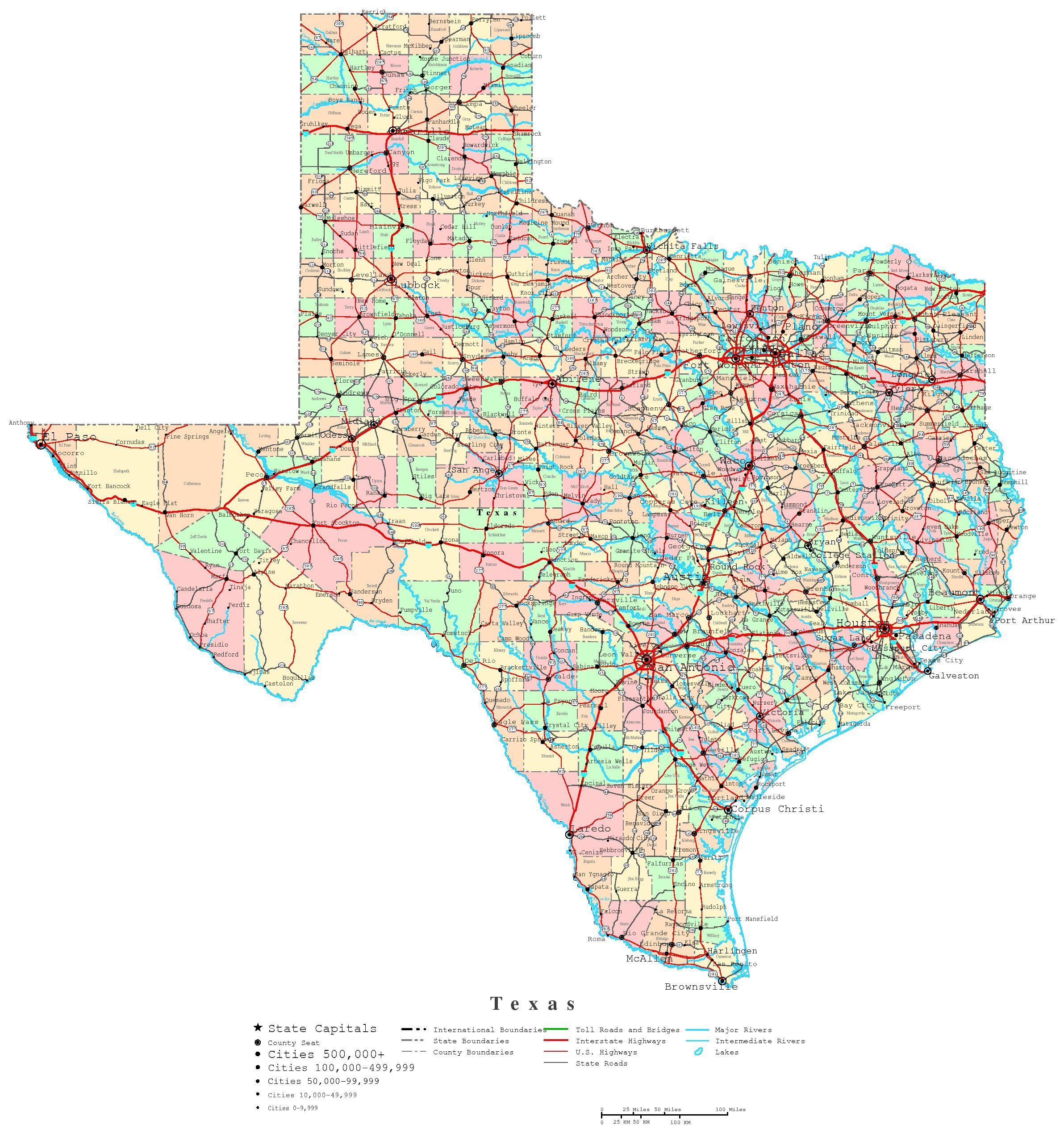 Printable Map Of Texas | Useful Info | Pinterest | Printable Maps - Free Printable State Maps
