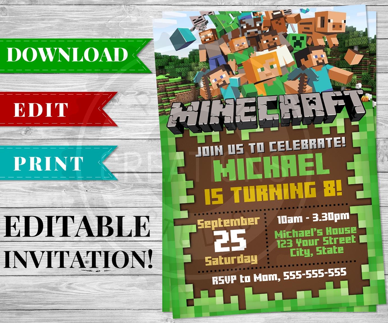 Printable Minecraft Invitation Pdf - Minecraft Birthday Party Supplies - Free Printable Minecraft Invitations