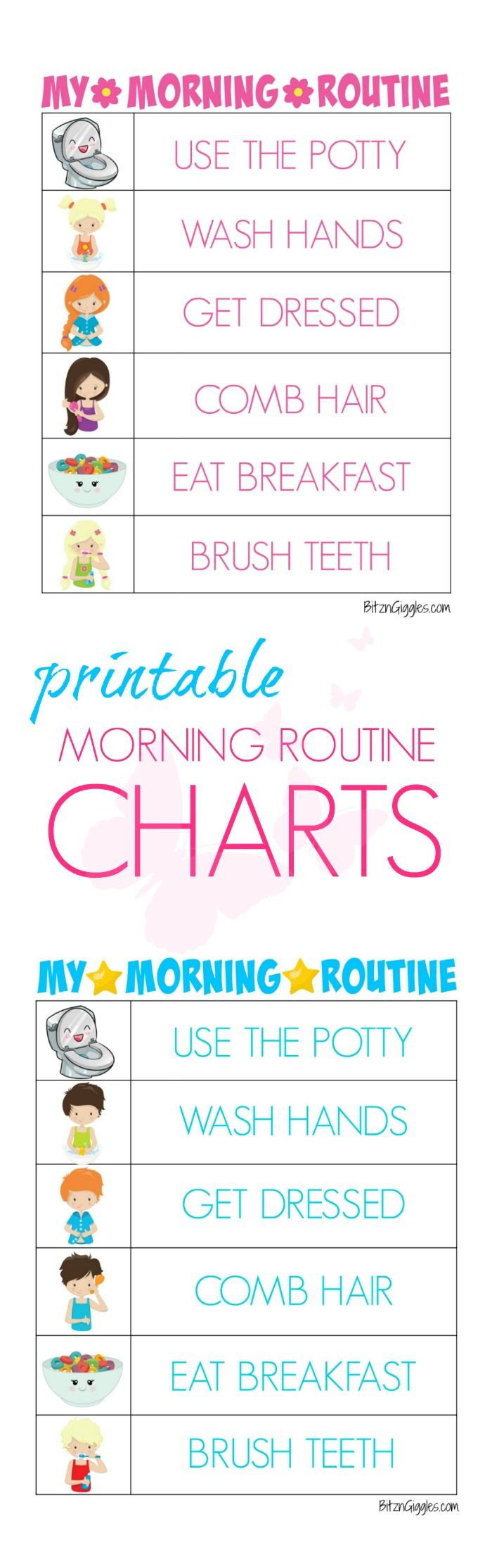 Printable Morning Routine Charts   Montessori - Free Printable Morning Routine Chart