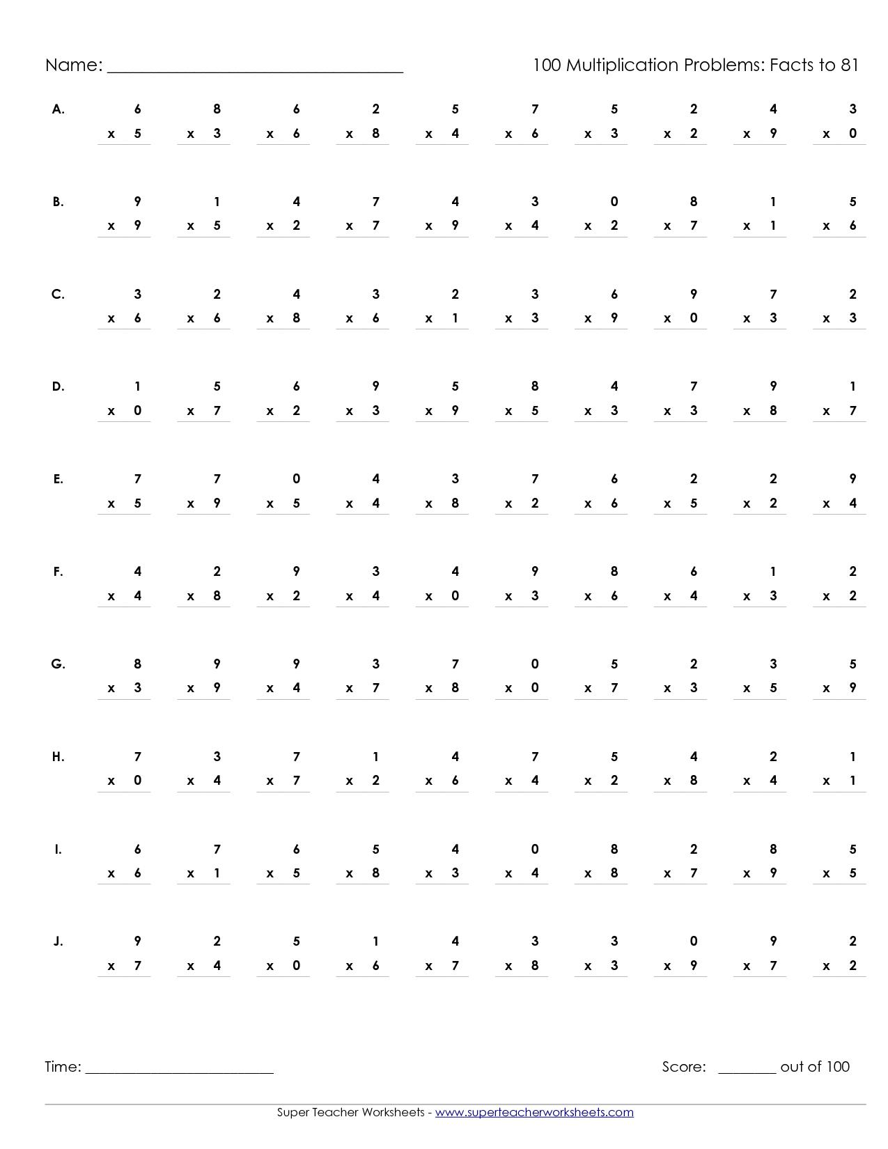 Printable Multiplication Worksheets 100 Problems   Math' S - Free Printable Multiplication Speed Drills