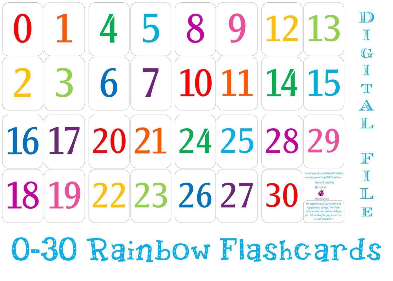 Printable Number Cards 1 30 | Numbers | Number Flashcards, Printable - Free Printable Number Flashcards 1 30