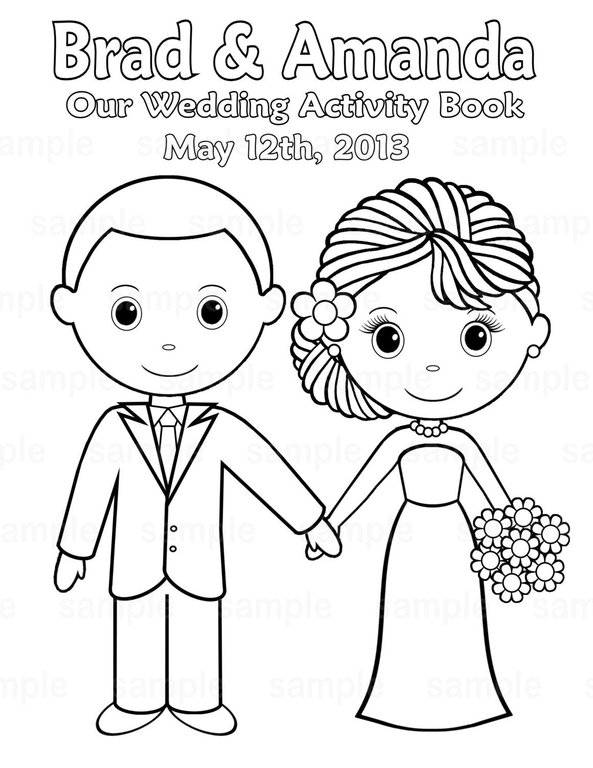 Printable Personalized Wedding Coloring Activity Book Favor Kids 8.5 - Free Printable Personalized Children's Books