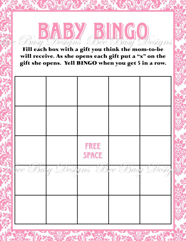 Printable Pink Damask Baby Shower Bingo Game Instant Download | Baby - Free Printable Baby Shower Bingo Cards Pdf