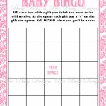 Printable Pink Damask Baby Shower Bingo Game Instant Download | Bee   Baby Bingo Game Free Printable