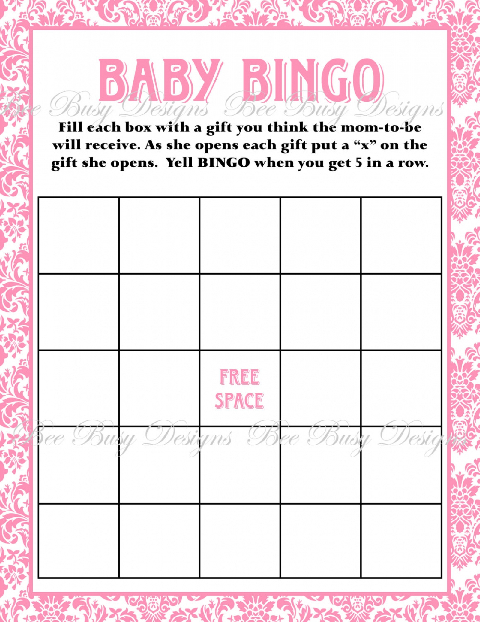 Printable Pink Damask Baby Shower Bingo Game Instant Download | Bee - Free Printable Baby Shower Bingo