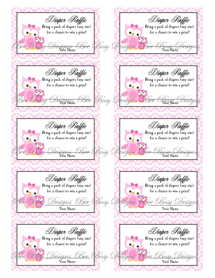 Printable Pink Mom With Little Girl Owl Diaper Raffle Tickets   Free - Free Printable Diaper Raffle Tickets Elephant