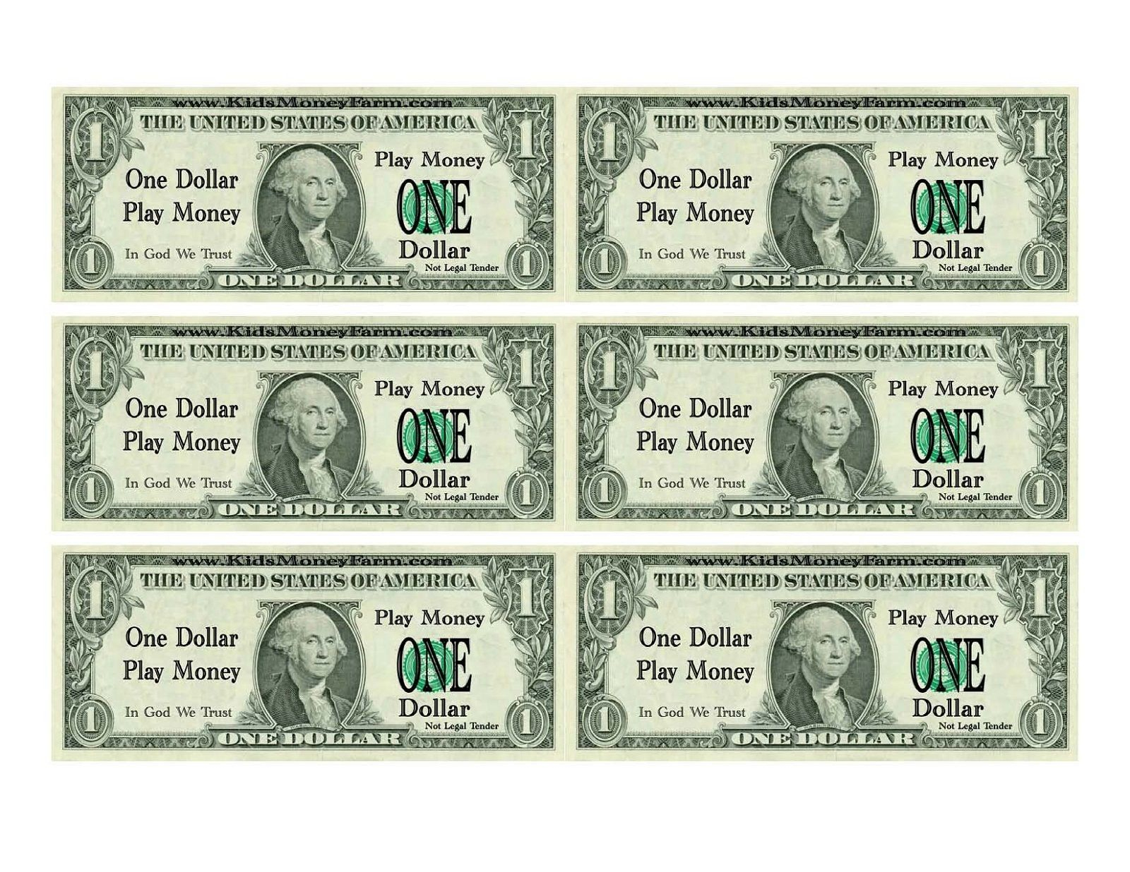 Printable Play Money For Kids | Printable | Printable Play Money - Free Printable Dollar Bill Template