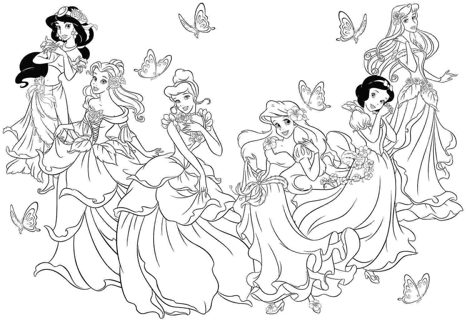 Printable Princess Coloring Pages - Hwnsurf - Free Printable Princess Coloring Pages