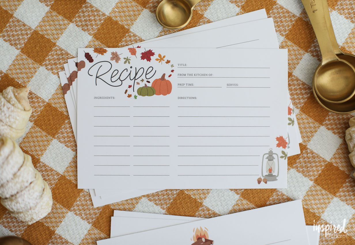 Printable Recipe Cards For Fall - Free Recipe Card Download - Free Printable Autumn Paper