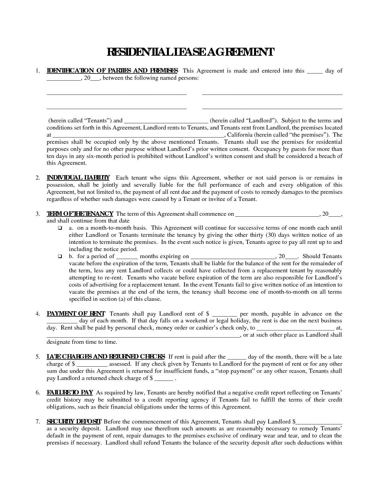 Printable Residential Free House Lease Agreement | Residential Lease - Free Printable House Rental Application Form