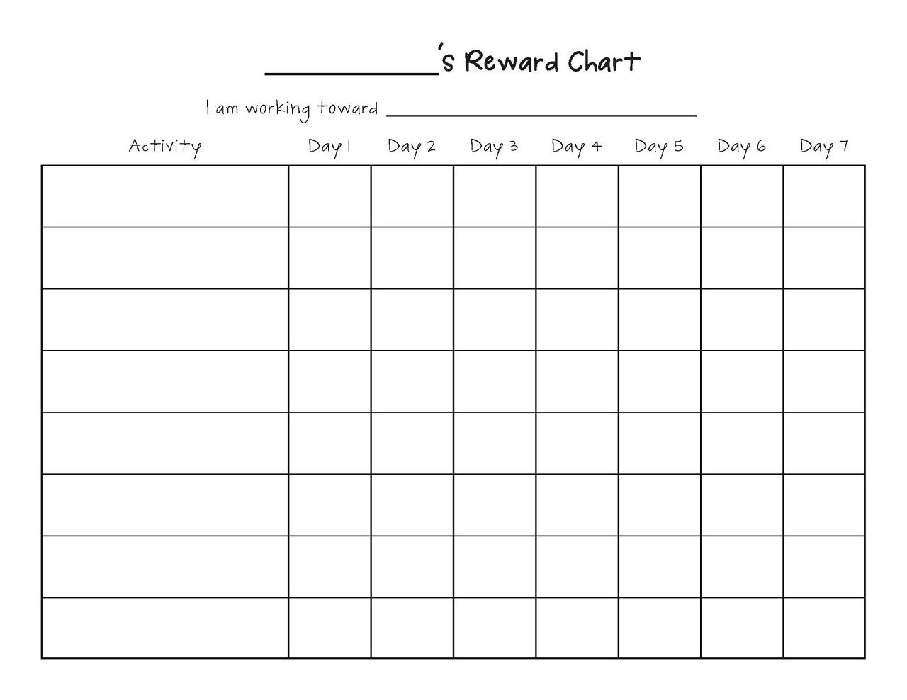 Printable Reward Chart Template | Printable Reward Charts Template - Free Printable Reward Charts For Teenagers