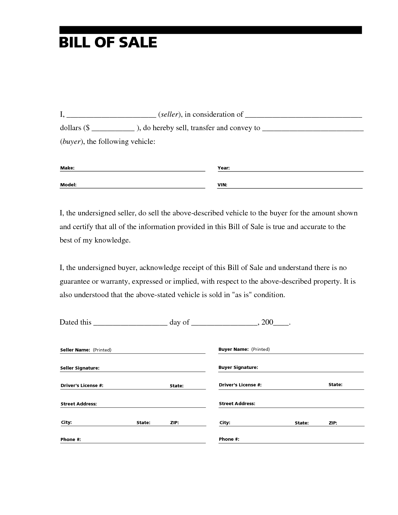 Printable Sample Free Car Bill Of Sale Template Form | Laywers - Free Printable Sales Receipts Online