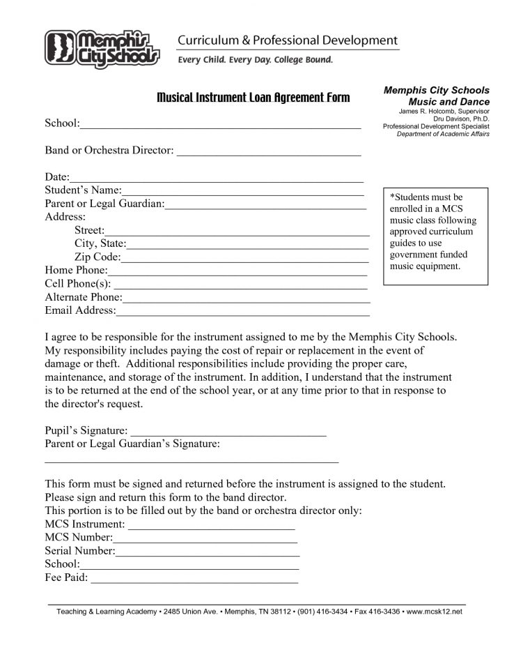 Free Printable Loan Agreement Form