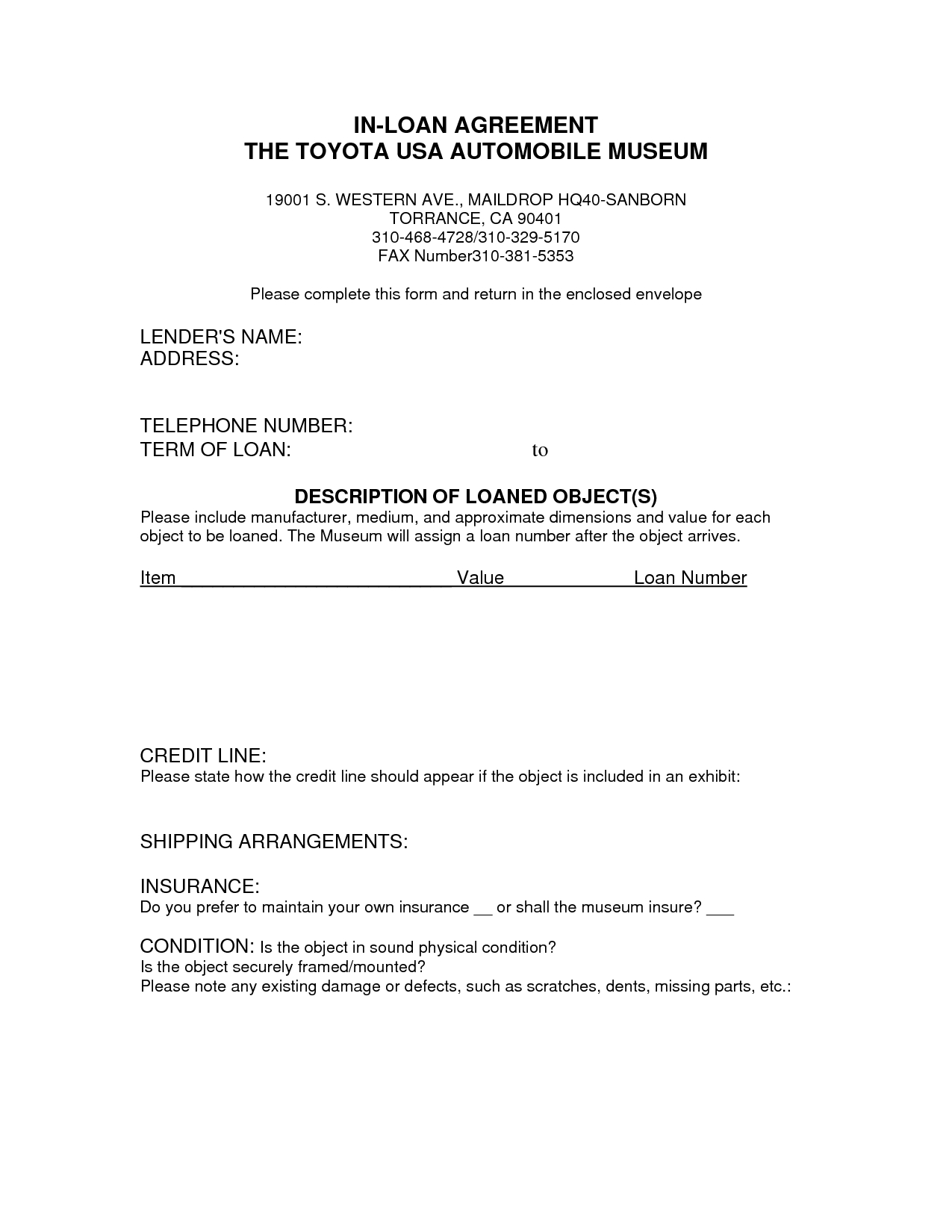 Printable Sample Loan Contract Template Form | Laywers Template - Free Printable Legal Forms California