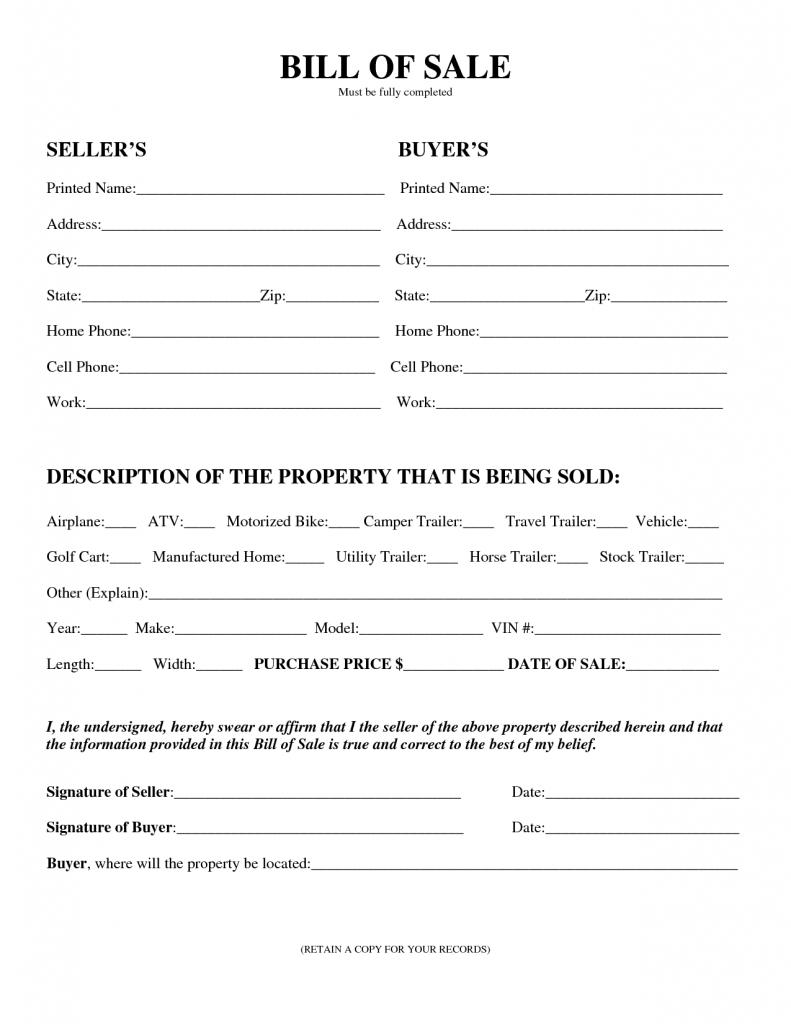 Printable Sample Printable Bill Of Sale For Travel Trailer Form - Free Printable Bill Of Sale For Trailer