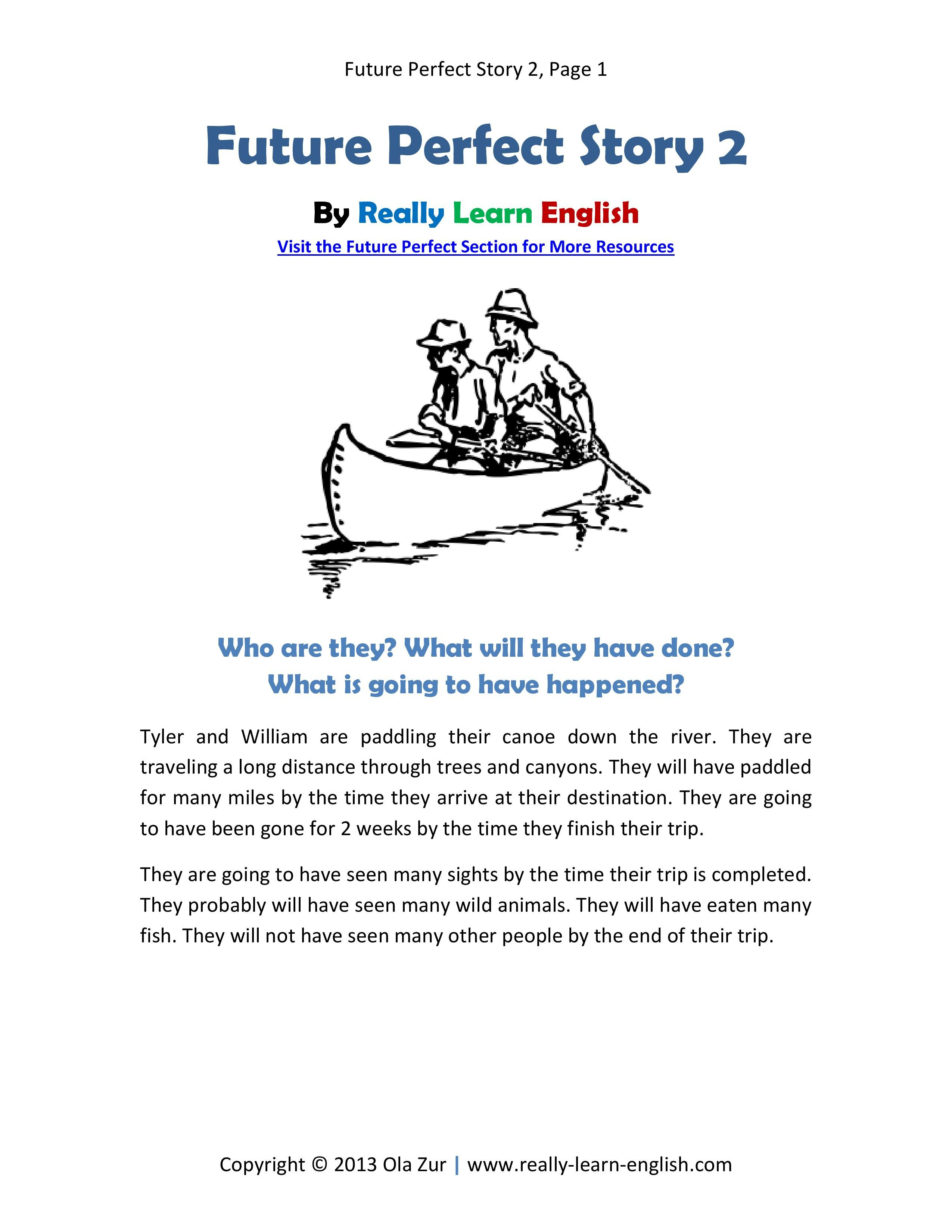 Printable Short Story And Worksheets To Practice The English Future - Free Printable Short Stories For High School Students
